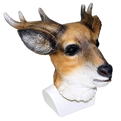 Animal Deer Mask Latex Full Head Reindeer Costume Mask Horns Fancy Dress Props Cosplay Party Mask Adult Size ()