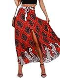 Ezcosplay Women's Bohemian Floral High Waist Split Maxi Long Skirt Beach Skirt