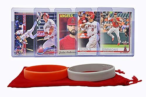 Angels Baseball Memorabilia - Los Angeles Angels Baseball Cards: Mike Trout, Andrelton Simmons, Kole Calhoun, Albert Pujols, Justin Anderson ASSORTED Trading Card and Wristbands Bundle