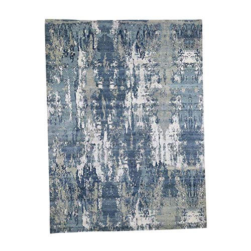 (Blue-Gray Abstract Design Wool and Silk Hand-Knotted Oriental Rug(9'x12'4