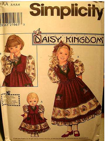 - Simplicity Daisy Kingdom Pattern 8263 Girls' Dress and Pinafore, Dress for 18-Inch Doll, Size AA (3-4-5-6)