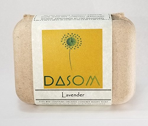 Dasom Lavender Bar Soap with Certified Organic ingredients without harmful chemical. Face and Body Soap, For Women, Men and Teens. For All Skin Type (Made in USA-Montana) (1 Pack, Lavender) ()