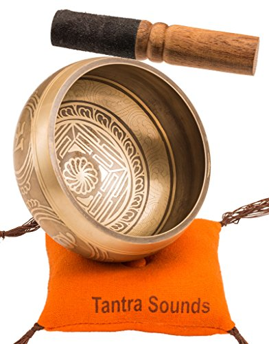 Tantra Sounds~Tibetan Singing Bowl Set – Sound Bell for Meditation, Yoga and Chakra Healing. Hand Made 4.5 Zen Buddhist Bowls with Striker, Cushion & Bag, from Nepal with Gift Ebook by Email