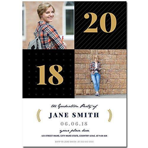 - Black Squares Custom Photo Graduation Invitation