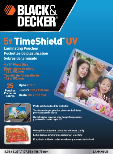 BLACK + DECKER TimeShield  UV Thermal Laminating Pouches, 4 x 6 Photo, 5 mil - 25 Pack (LAM4X6-25) Classroom Laminator Pouches