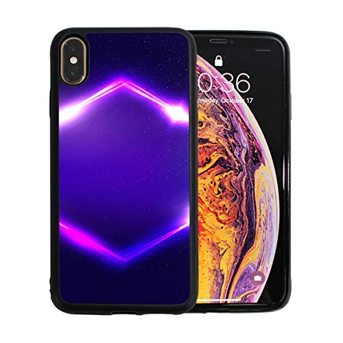 Regular Lozenge - Regular Parallelogram Pattern iPhone Xs Max Case Screen Protector TPU Hard Cover with Thin Shockproof Bumper Protective Case for Apple iPhone Xs Max 6.5 Inch