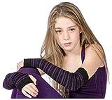 Black & Purple Striped Arm Warmer KD dance New York Sexy, Fashionable & Fingerless Arm Warmers Thumb Hole #MadeInUSA Happy New Year 2018 @KDdanceNewYork