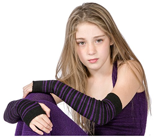 Black & Purple Striped Arm Warmer KD dance New York Sexy, Fashionable & Fingerless Arm Warmers Thumb Hole #MadeInUSA Happy New Year 2018 @KDdanceNewYork by KD dance New York (Image #8)