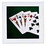 3dRose Alexis Photo-Art - Poker Hands - Poker Hands Straight King to Nine - 22x22 inch quilt square (qs_270317_9)
