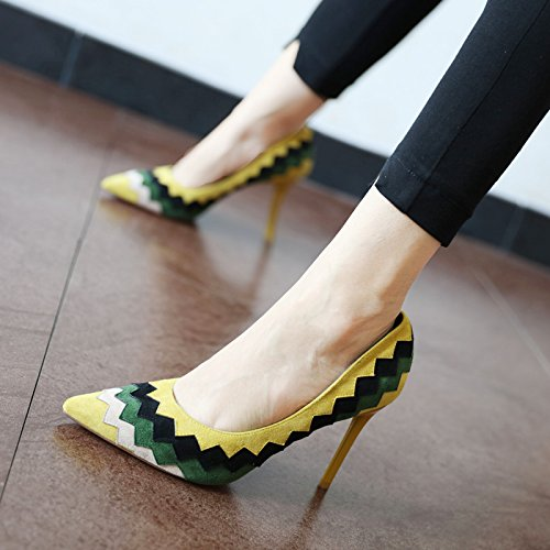FLYRCX la y y Solo moda parte otoño yellow moda solo los superficial de Zapato temporada altos talón primavera tacones bien Zapato el rrqBwcC6
