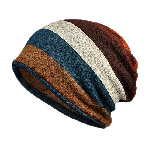 BIKMAN Stylish Warm Knit Hat Crochet Stripes Slouch Beanie Cap (Orange)