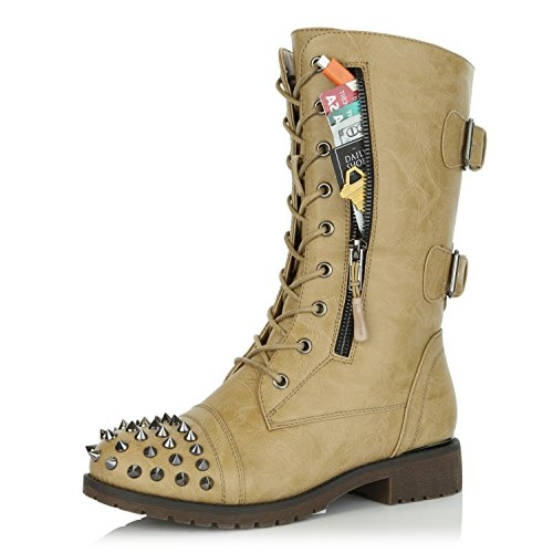 DailyShoes Women's Military Lace up Buckle Combat Boots Mid Knee High Exclusive Credit Card Pocket Front Studded Booties Beige Pu