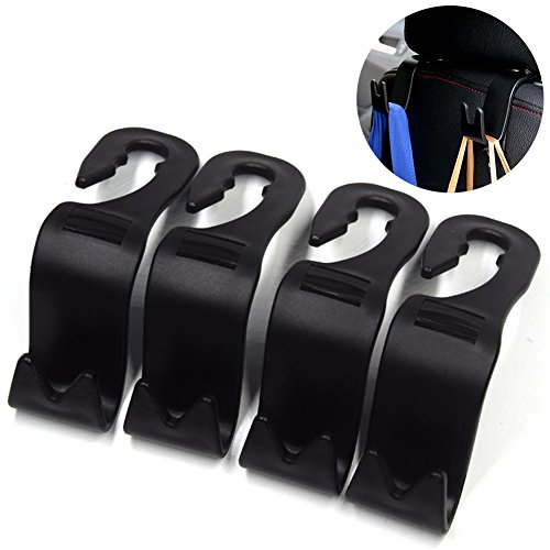 Coat Caddy (HaloVa Car Seat Back Headrest Hanger Storage Hooks, Universal Vehicle Auto Backseat Headrest Holder for Handbags, Purses, Coats, Grocery Bags, Strong And Durable, Black, Pack of 4)