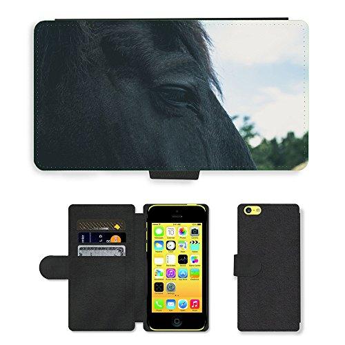 Just Phone Cases PU Leather Flip Custodia Protettiva Case Cover per // M00127912 Cheval Animaux Portrait Dark Eye // Apple iPhone 5C