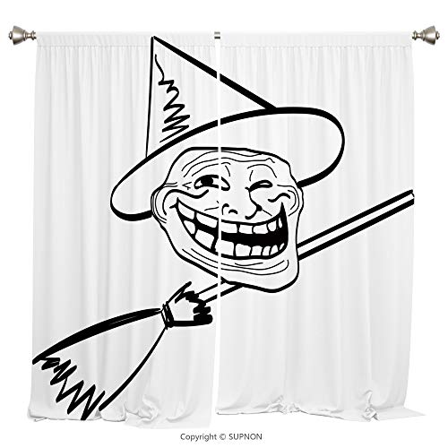 Rod Pocket Curtain Panel Thermal Insulated Blackout Curtains for Bedroom Living Room Dorm Kitchen Cafe/2 Curtain Panels/108 x 84 Inch/Humor Decor,Halloween Spirit Themed Witch Guy Meme Lol Joy -