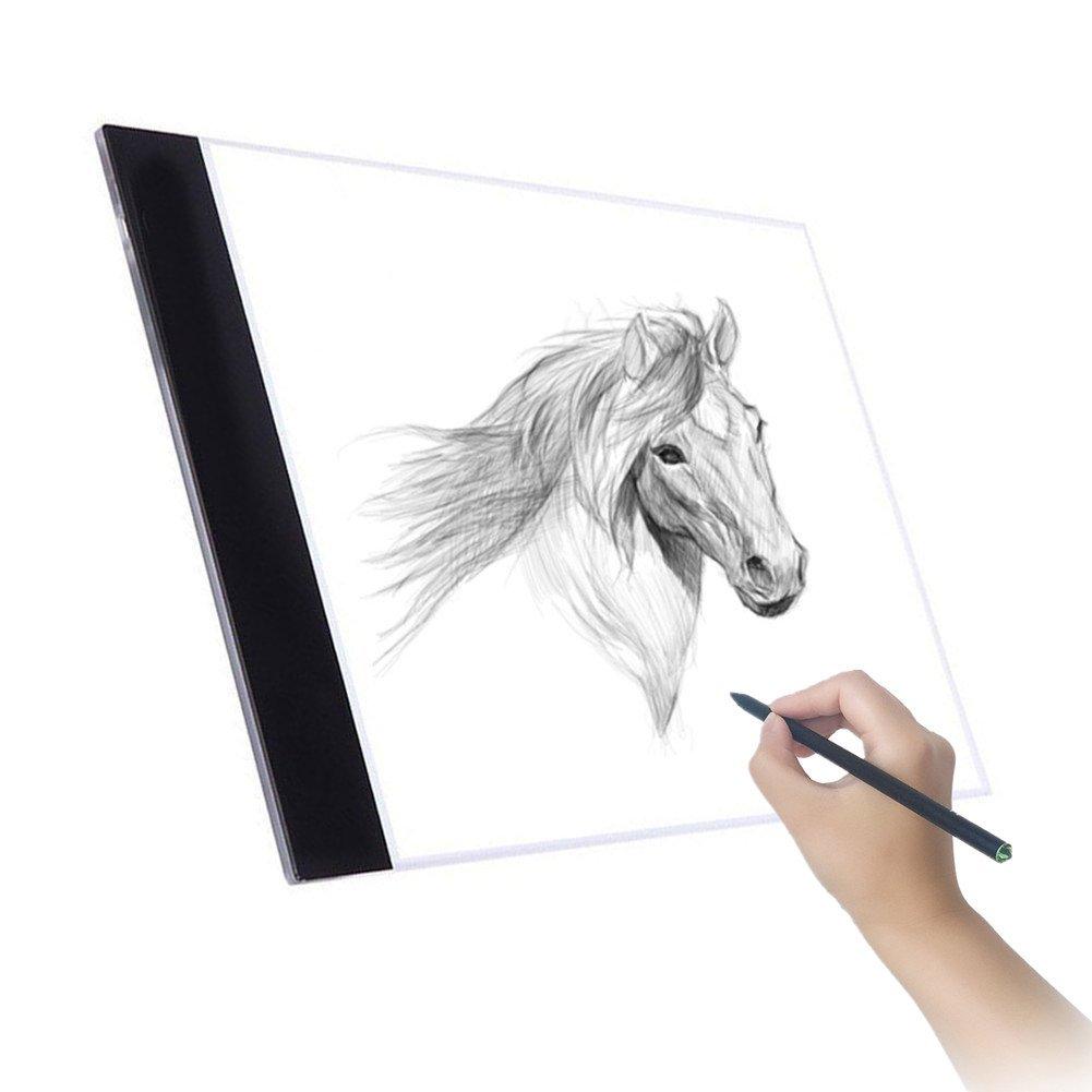 A4 LED Tavoletta luminosa, Tavolette da disegno, LightPad moderno e ultra sottile Per disegnare contorni e tatuaggi; trasferire diapositive e disegni su tessuti CHBKT