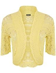 WearAll Women's Crochet Knitted Short Sleeve Bolero