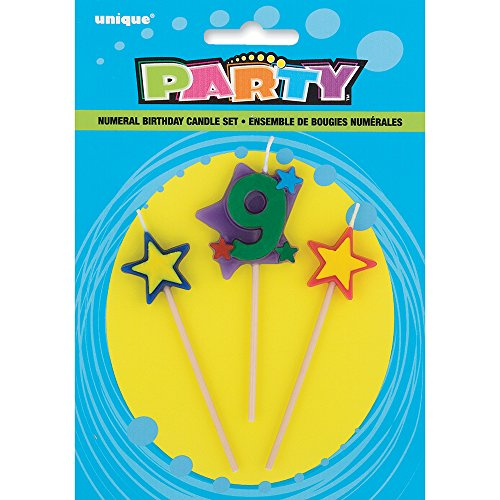 Stars & Number 9 Birthday Candle Set, 3pc