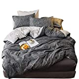 AMWAN Geometric Leaves Print Queen Duvet Cover Set Cotton Reversible Striped Bedding Set 3 Piece Hotel Luxury Bedding Collection 1 Duvet Cover with 2 Pillowcases Modern Queen Full Bed Set, Style1