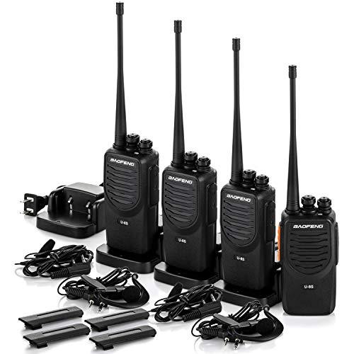 Upgraded BaoFeng Walkie Talkies 4 Pack Long Range Two Way Radio UHF 400 470MHz 16-Channel Walkie Talkies with Earpiece