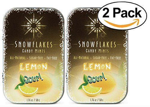 Sour Lemon Xylitol Candy Chips (2-Pack) - Snowflakes (2) 50g Tins - Handcrafted with ONLY 3 Ingredients | Diabetic-friendly, Non-GMO, Vegan, GF & Kosher | Purest sugar-free candy in the world!