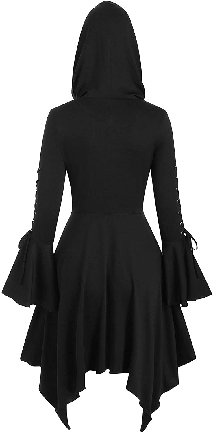 JMSUN Women Autumn and Winter Lace-up Poet Sleeve Hooded Hanky Hem Gothic Skirted Coat