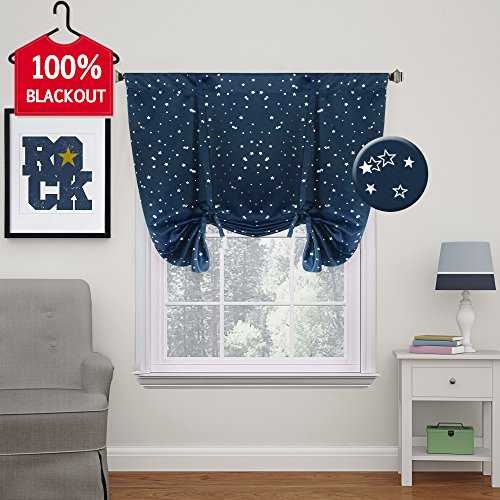 Kids Room Curtain Bright Stars Pattern Thermal Insulated Blackout Window Treatment Panel Rod Pocket Tie Up Curtain for Small Window, W42 x L63 inch - Set of 1 (Block Star Small)