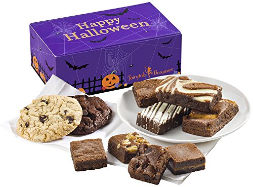 Fairytale Brownies Halloween Treat Combo Gourmet Chocolate Food Gift Basket - Assorted Size Brownies and 3.25 Inch Cookies - 10 Pieces - Item FL341 -