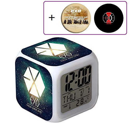 Youyouchard EXO ''Don't Mess Up My Tempo'' Wake Up Alarm Clock, Digital LED Clock with 7 Color Change& 8 Ringtones, 2 EXO Badges as (03)