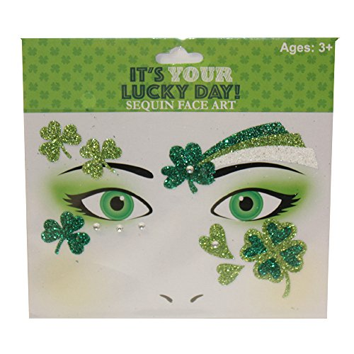 st. patrick's day Parade Accessories Green Orange White - Choose from Head Band Set, Glasses, Fanny Pack, Irish Flag Cape, Light up Beads (Face Art Tattoos - Luck - Green (Glitter Flag Charm)
