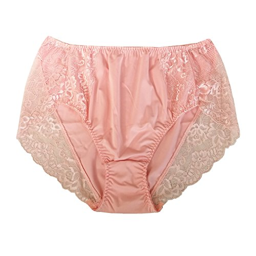 Lasricas Women's Plus Size Briefs Hi Cut Full Brief Panty Lace Trimmed Milk Protein Fiber Underwear Pink