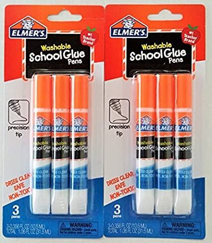 Elmers Washable School Glue Pens with Precision Tips (3-pens Per Pack) - 2 Packs