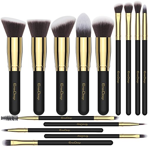 EmaxDesign Makeup Brushes 14 Pieces Professional Makeup Brush Set Synthetic Foundation Blending Concealer Eye Face Liquid Powder Cream Cosmetics Brushes Set (Golden Black) (Design Brush)