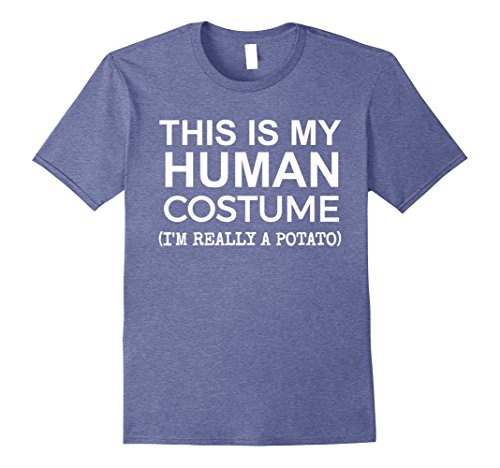 Mens This is My Human Costume, Really a Potato T-shirt Halloween Large Heather Blue