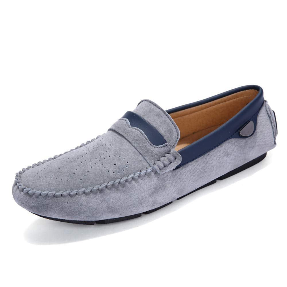 HYF Oxford Shoes Men's Drive Loafers Casual Leather Lightweight Breathable Engraved Floral Foot Cover Boat Moccasins Business Shoes for Men (Color : Gray, Size : 8 M US)