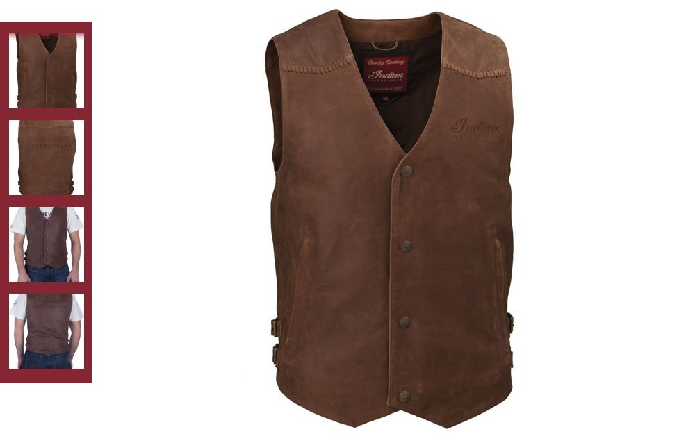 L Indian Motorcycle Mens Brown Leather Vest 286370706