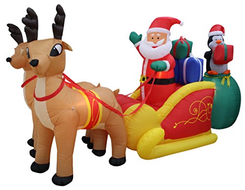 Santa Claus And Reindeer Decoration - 13 Foot Long Lighted Christmas Inflatable Santa Claus and Penguin with Gift in Sleigh Pulled by 2 Reindeer Decoration