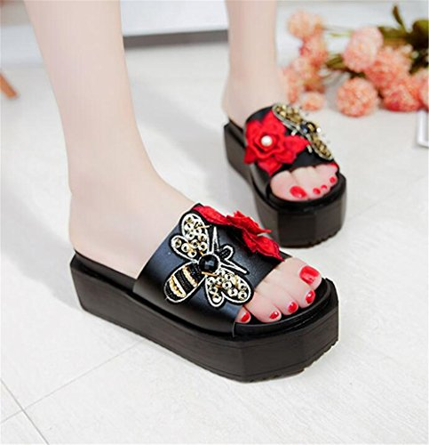 Waterproof Beach Sandals Black Platform Wedge Summer Slippers Sandals pit4tk Slippers Women Sandals 8q4EAnxw