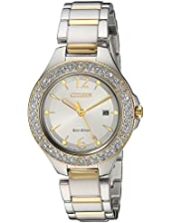 Citizen Womens Eco-Drive Quartz Stainless Steel Casual Watch, Color:Two Tone (Model: FE1164-53A)