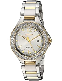 Womens Eco-Drive Quartz Stainless Steel Casual Watch, Color:Two Tone