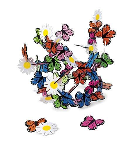 Butterflies and Flowers Connectagons 62 Piece Wooden 3D Interlocking Toys Building Play Set