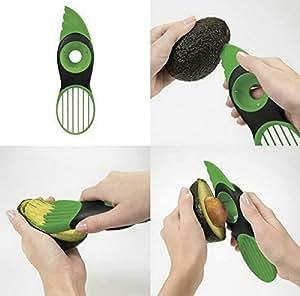 Singwing 3-in-1 Avocado Sharp Blade Slicer Green Plastic Splits Pits Fruit Pitter Peeler