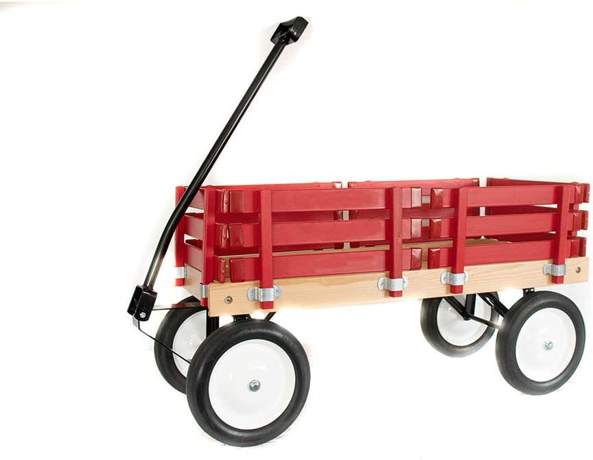 B00GFMBFWO Classic Berlin Flyer Red Wagon for Kids - Amish Made in the USA! Hardwood & Reinforced Steel Body, Rubber Tires, No-Pinch Handle & No-Tip Steering, F310-SS Model 51Xv52pdCkL.SL1000_