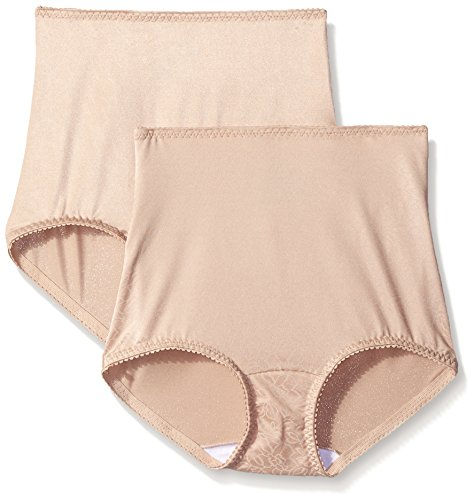 Hanes Shapewear Women's Light Control 2 Pack Shaping Brief, Nude/Nude Deluster, X-Large