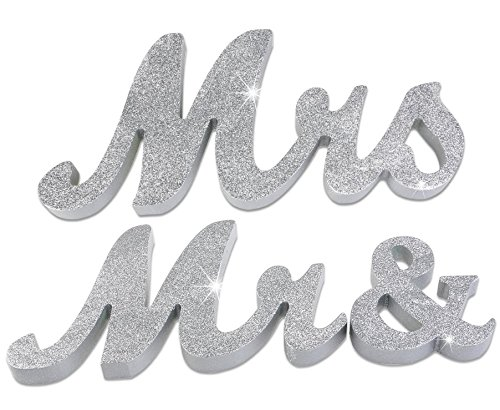 Elegant Sparkly Glitter LARGE wedding anniversary vows renewal sweet table wood sign Mr & Mrs metallic silver Sparkly Sweet Sparkle