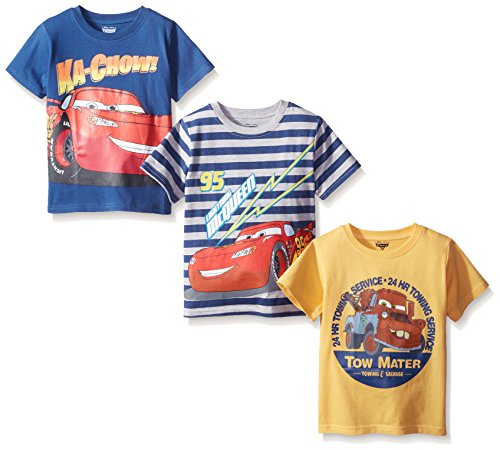 Disney Little Boys' 3 Pack Cars T-Shirts, Blue, 6