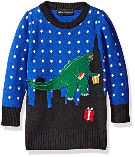 Alex Stevens Little Boys' T-Rex Godzilla Sweater, Blue Combo, 5