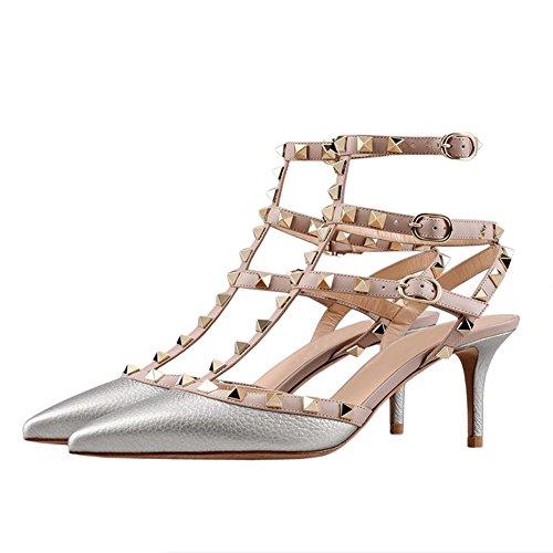 Sandali Con Il Cinturino In Pelle Merumote Sandali Con Doppia Fibbia Rivetti Sottili Sandali Con Motivo Argento
