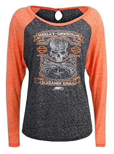 Harley Davidson Crossbones (Harley-Davidson Women's Screamin' Eagle Crossbones Shirt, Gray HARLLT0214 (2XL))
