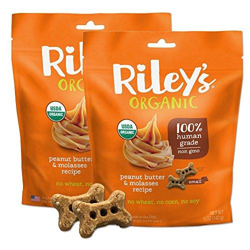 Rileys Organics - Peanut Butter & Molasses Organic Dog Treats, 5 oz Small Biscuits - Resealable Bag 2 Pack